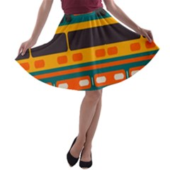 Rectangles in retro colors texture A-line Skater Skirt