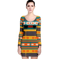 Rectangles in retro colors texture Long Sleeve Velvet Bodycon Dress