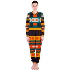 Rectangles In Retro Colors Texture Onepiece Jumpsuit (ladies)