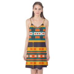 Rectangles In Retro Colors Texture Camis Nightgown