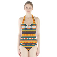Rectangles in retro colors texture Women s Halter One Piece Swimsuit