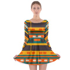 Rectangles In Retro Colors Texture Long Sleeve Skater Dress