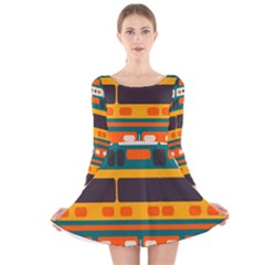 Rectangles in retro colors texture Long Sleeve Velvet Skater Dress