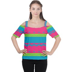Chevrons and stripes  Women s Cutout Shoulder Tee