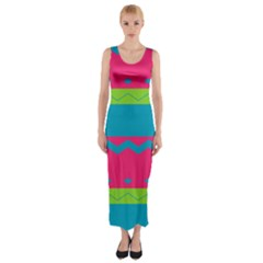 Chevrons and stripes  Fitted Maxi Dress