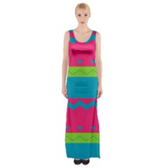 Chevrons and stripes  Maxi Thigh Split Dress