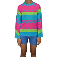Chevrons And Stripes   Kid s Long Sleeve Swimwear