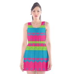 Chevrons and stripes  Scoop Neck Skater Dress