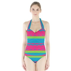 Chevrons and stripes  Women s Halter One Piece Swimsuit