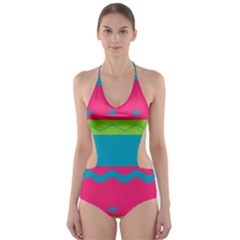 Chevrons and stripes  Cut-Out One Piece Swimsuit