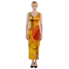 Red Spot Fitted Maxi Dress