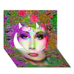 Flowers In Your Hair Heart 3d Greeting Card (7x5)