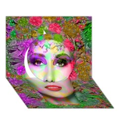 Flowers In Your Hair Circle 3d Greeting Card (7x5)