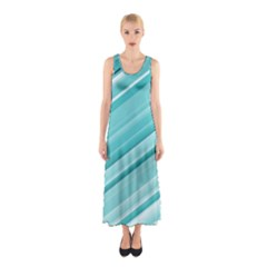 Teal And White Fun Full Print Maxi Dress