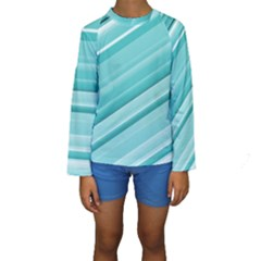 Teal And White Fun Kid s Long Sleeve Swimwear