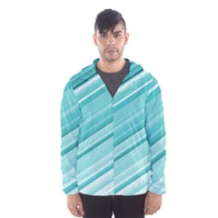 Teal And White Fun Hooded Wind Breaker (men)