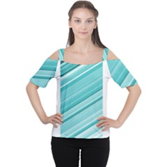 Teal and White Fun Women s Cutout Shoulder Tee