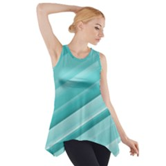 Teal and White Fun Side Drop Tank Tunic