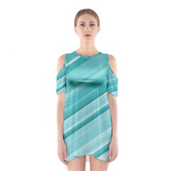 Teal and White Fun Cutout Shoulder Dress