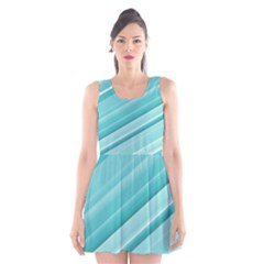 Teal and White Fun Scoop Neck Skater Dress