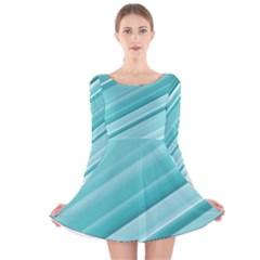 Teal and White Fun Long Sleeve Velvet Skater Dress