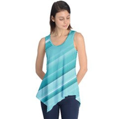 Teal and White Fun Sleeveless Tunic