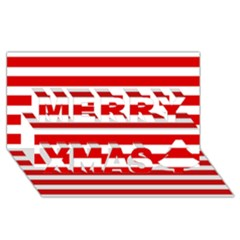 Red And White Stripes Merry Xmas 3d Greeting Card (8x4)