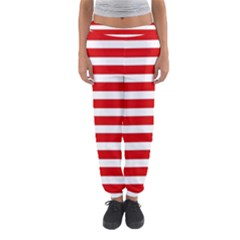 Red and White Stripes Women s Jogger Sweatpants
