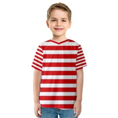Red and White Stripes Kid s Sport Mesh Tee