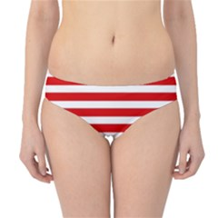 Red And White Stripes Hipster Bikini Bottoms