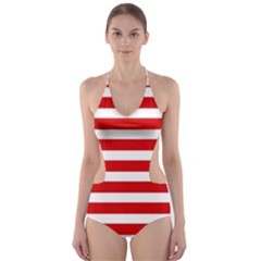 Red and White Stripes Cut-Out One Piece Swimsuit