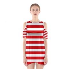 Red And White Stripes Cutout Shoulder Dress