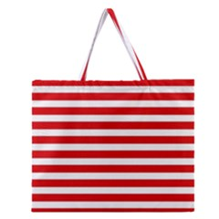 Red and White Stripes Zipper Large Tote Bag