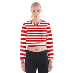 Red and White Stripes Women s Cropped Sweatshirt