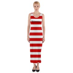 Red And White Stripes Fitted Maxi Dress