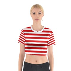 Red and White Stripes Cotton Crop Top