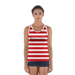 Red and White Stripes Tops