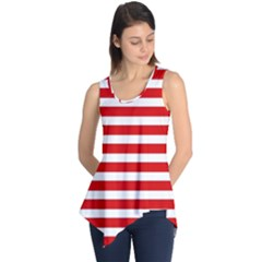 Red And White Stripes Sleeveless Tunic