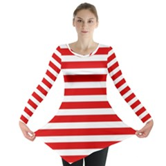 Red and White Stripes Long Sleeve Tunic