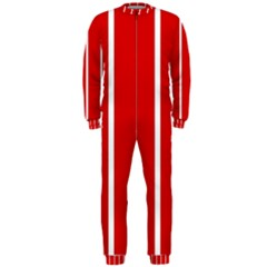 White And Red Stripes Onepiece Jumpsuit (men)