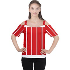 White and Red Stripes Women s Cutout Shoulder Tee