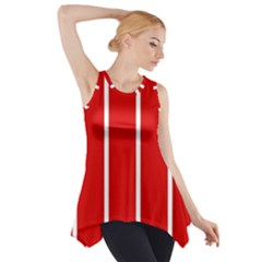 White and Red Stripes Side Drop Tank Tunic