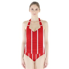 White and Red Stripes Women s Halter One Piece Swimsuit