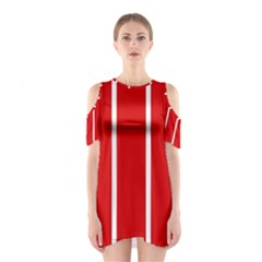 White and Red Stripes Cutout Shoulder Dress