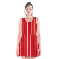 White and Red Stripes Scoop Neck Skater Dress