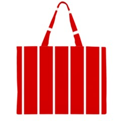 White and Red Stripes Large Tote Bag