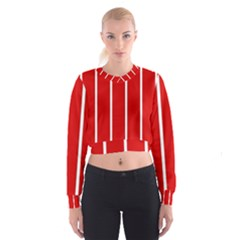 White And Red Stripes Women s Cropped Sweatshirt
