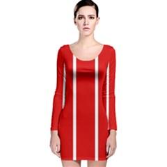 White and Red Stripes Long Sleeve Velvet Bodycon Dress