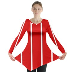 White and Red Stripes Long Sleeve Tunic