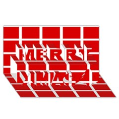 Red Cubes Stripes Merry Xmas 3d Greeting Card (8x4)